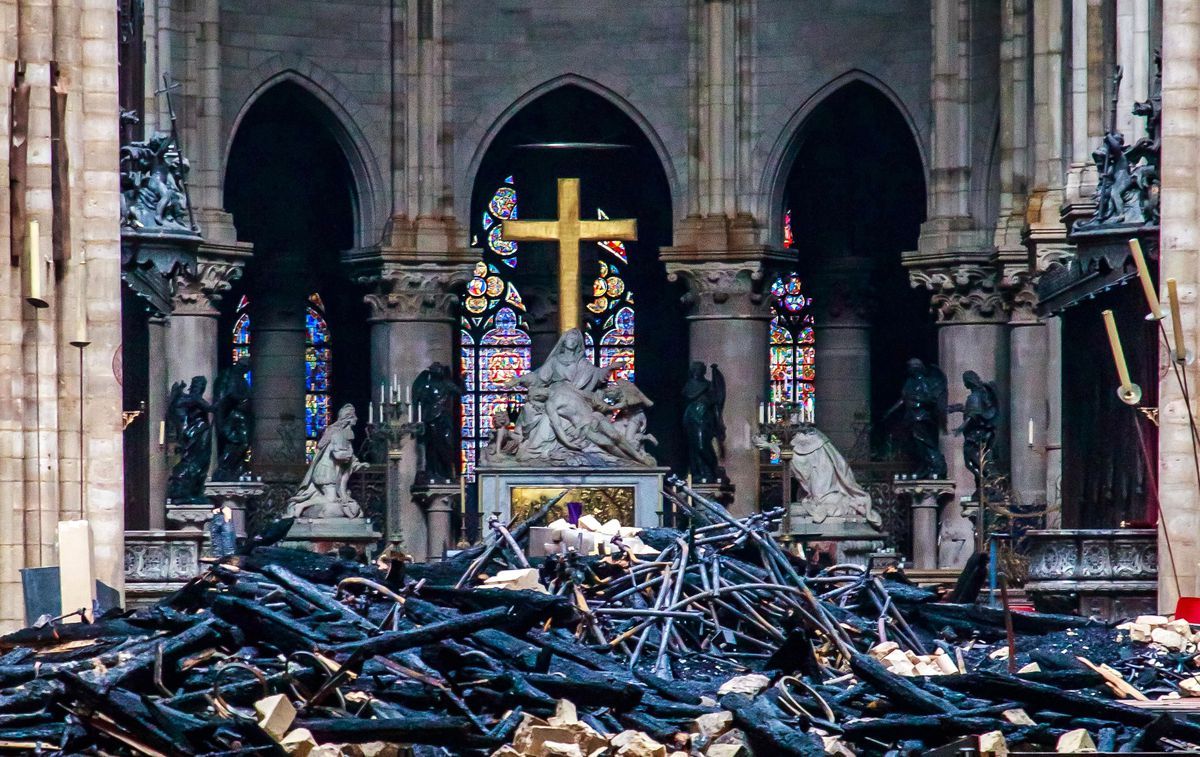 Debris inside the Notre Dame cathedral a day after the fire