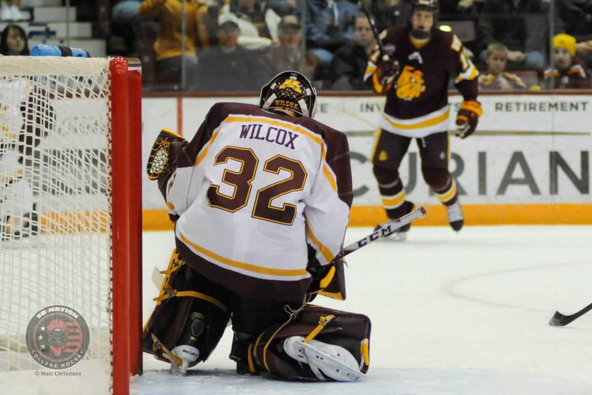 Minnesota goalie Adam Wilcox is in net against Minnesota-Duluth after a career-high 36 saves Friday