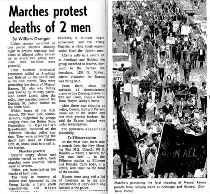 A Chicago Sun-Times story from May 6, 1969, about two marches protesting the deaths of two men. One march was sparked by the fatal shooting of Manuel Ramos by an off-duty Chicago police officer.