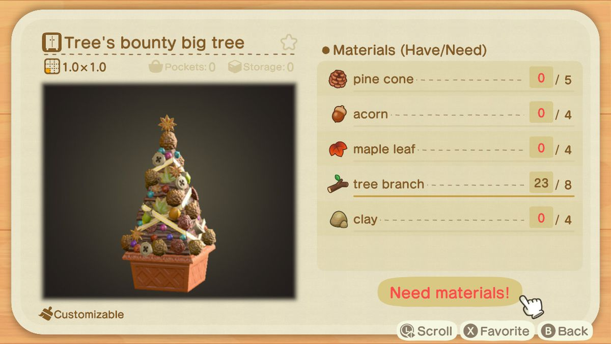 A recipe list for a Tree's Bounty Big Tree