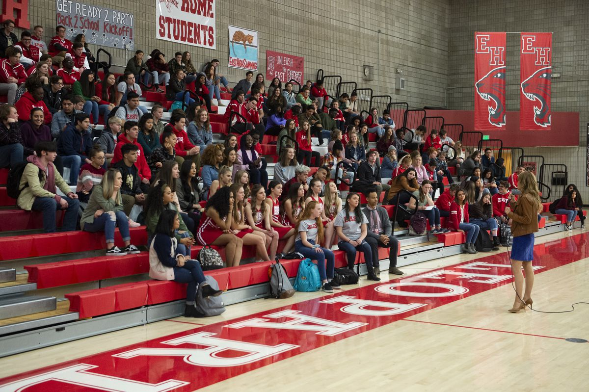 a school assembly in high school musical: the musical: the series