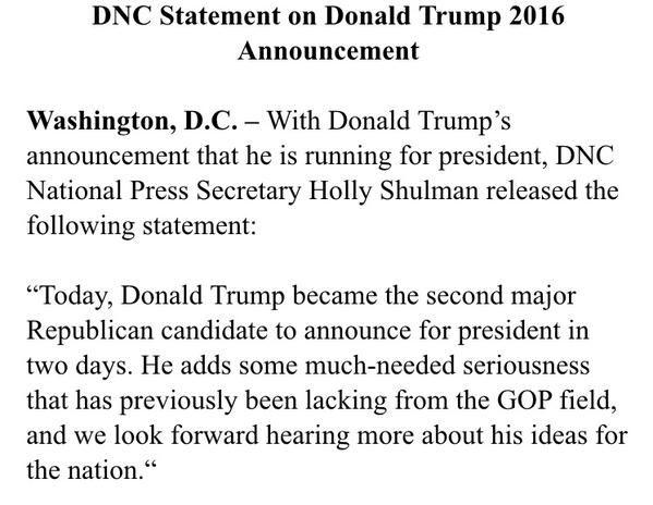 DNC Trump statement