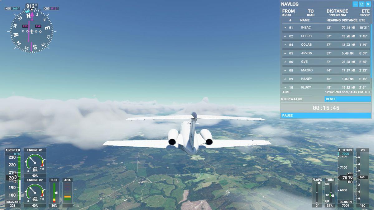 Microsoft Flight Simulator flight plan using VOR
