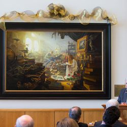 """Elder M. Russell Ballard of the LDS Church's Quorum of the Twelve Apostles spoke briefly at the unveiling of Greg Olsen's new painting """"Treasures of Knowledge."""" The painting will be displayed in the family room of the Gordon B. Hinckley Visitors and Alumni Center. The painting was commissioned by Leo and Annette Beus."""