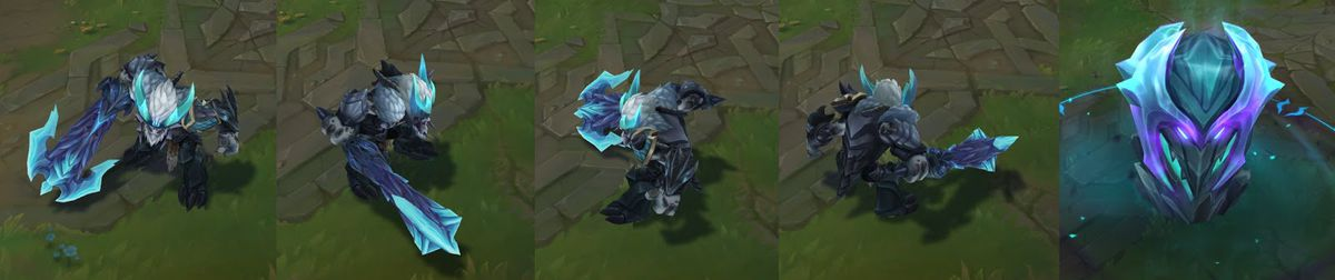 Dragon Slayer Trundle's in-game model and his pillar, which is a huge dragon head made of ice