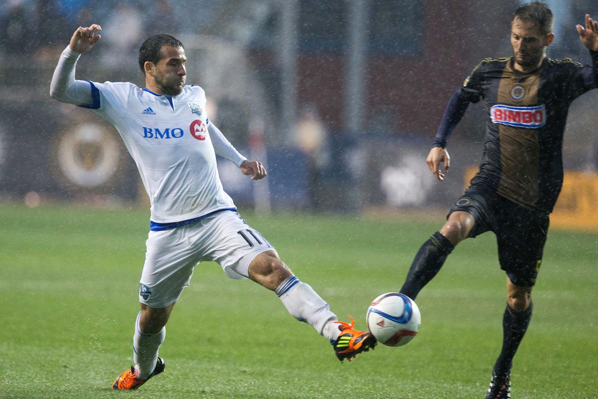 Dilly Duka fights for the ball in IMFC's scrappy draw with the Union on Saturday.