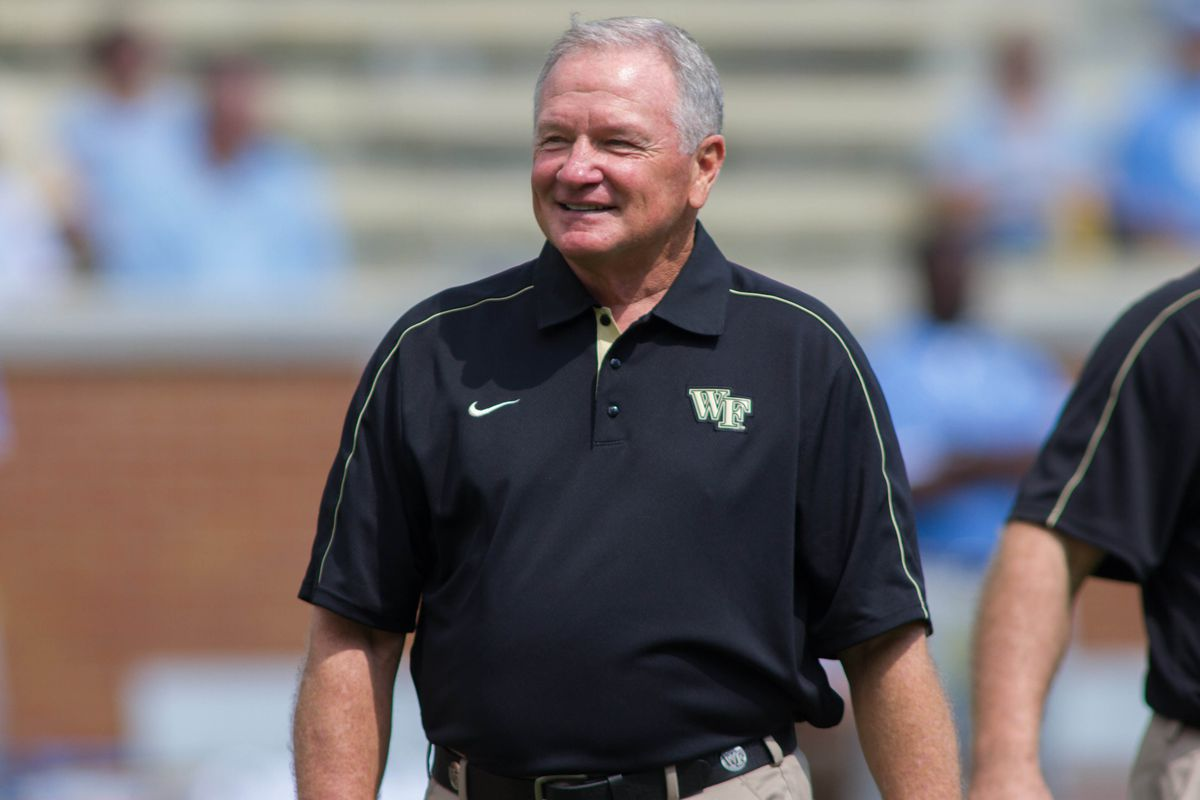Sep 8, 2012; Winston Salem, NC, USA Wake Forest Demon Deacons head coach Jim Grobe walks the field during the warm ups before the game against the North Carolina Tar Heels at BB&T field.  Mandatory Credit: Jeremy Brevard-US PRESSWIRE