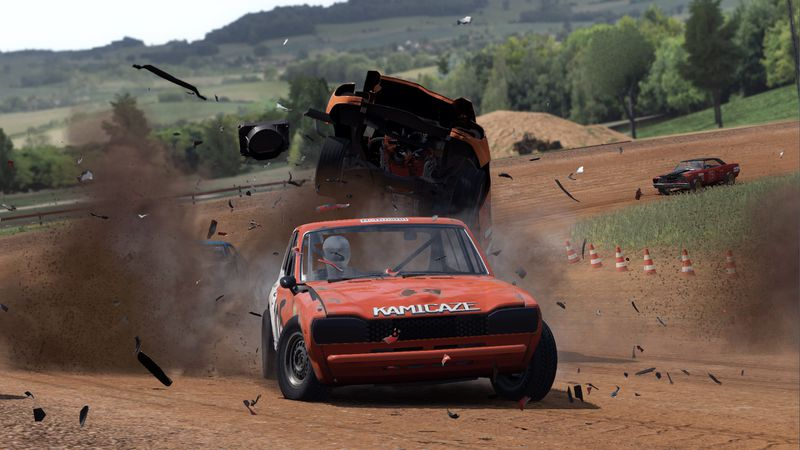 A car crashes during a race in Wreckfest