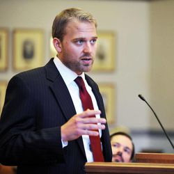 Attorneys representing both sides in the Hardy Billington Et Al V Robin Carnahan case were in a Cole County courtroom Friday, Sept. 7, 2012, in Jefferson City, Mo. At the podium is Kansas City attorney, Clayton Callen, speaking on behalf of the plaintiff, Hardy Billington et al.