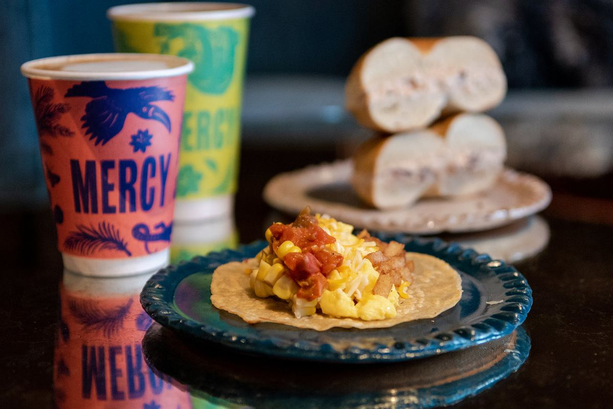 Mercy Me is selling breakfast tacos and Call Your Mother bagels