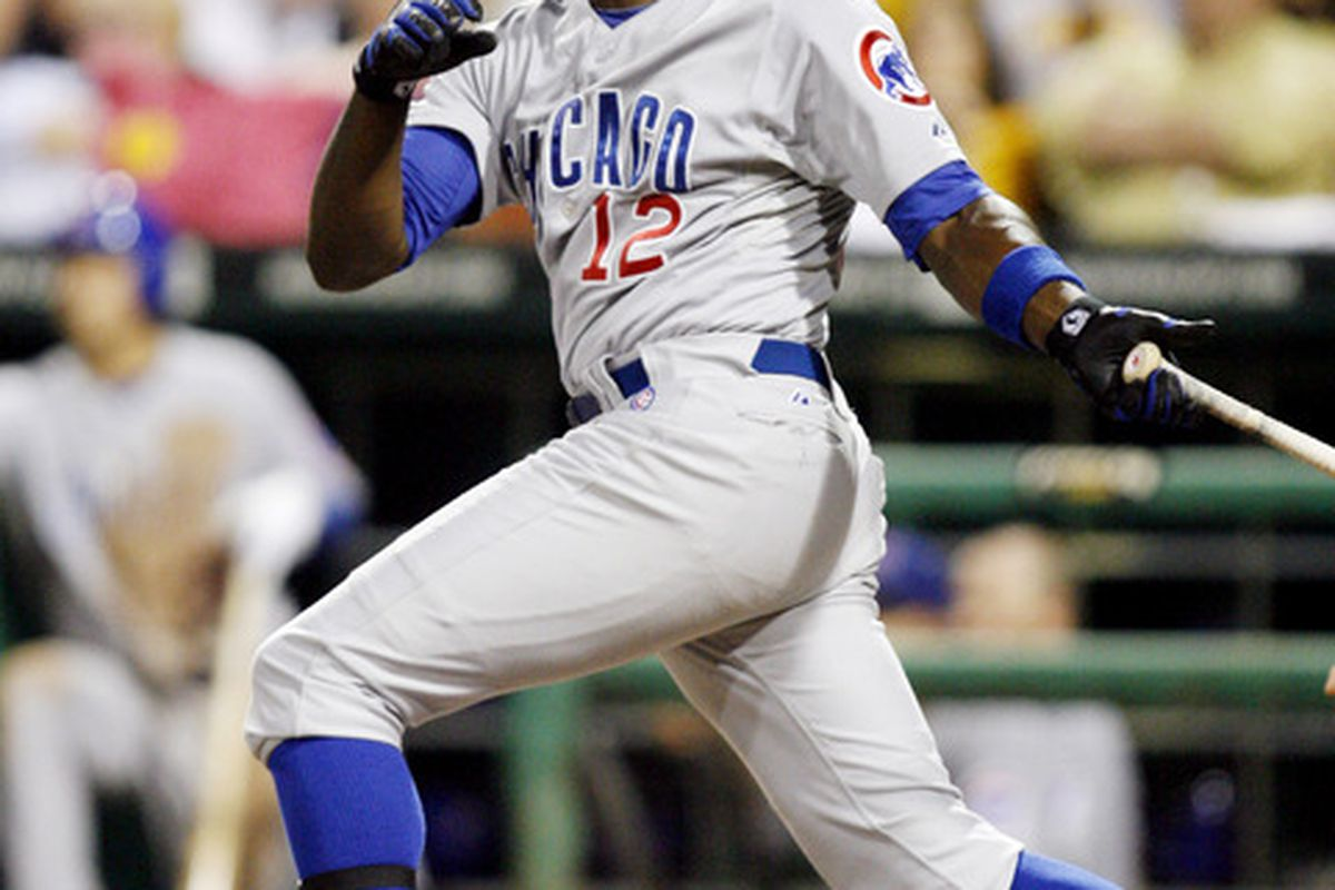 Pittsburgh, PA, USA; Chicago Cubs left fielder Alfonso Soriano singles against the Pittsburgh Pirates at PNC Park. The Pittsburgh Pirates won 1-0. Credit: Charles LeClaire-US PRESSWIRE