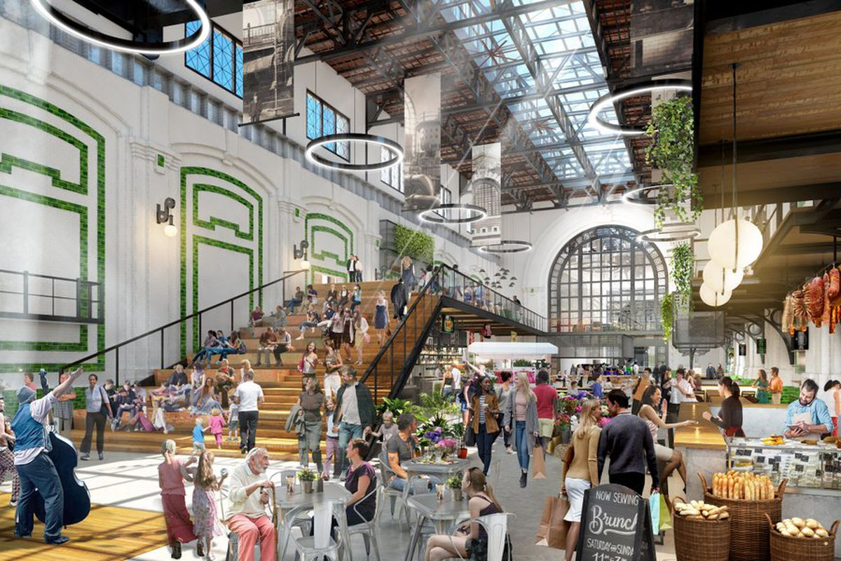 Rendering of a cavernous food hall filled with shoppers and including a large staircase.