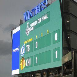 8:20 p.m. The left-field video board -