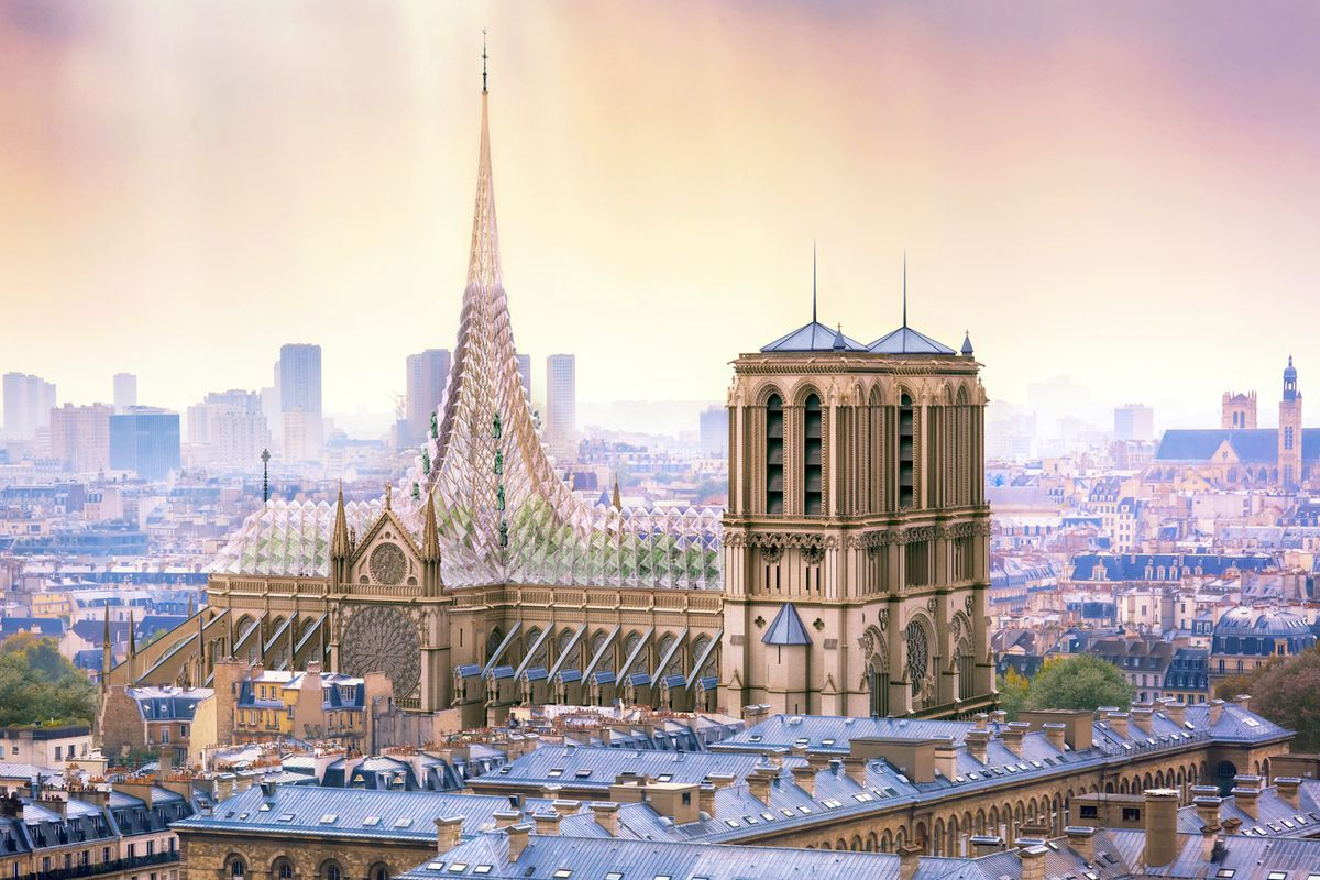 Rendering of Notre Dame with glass roof