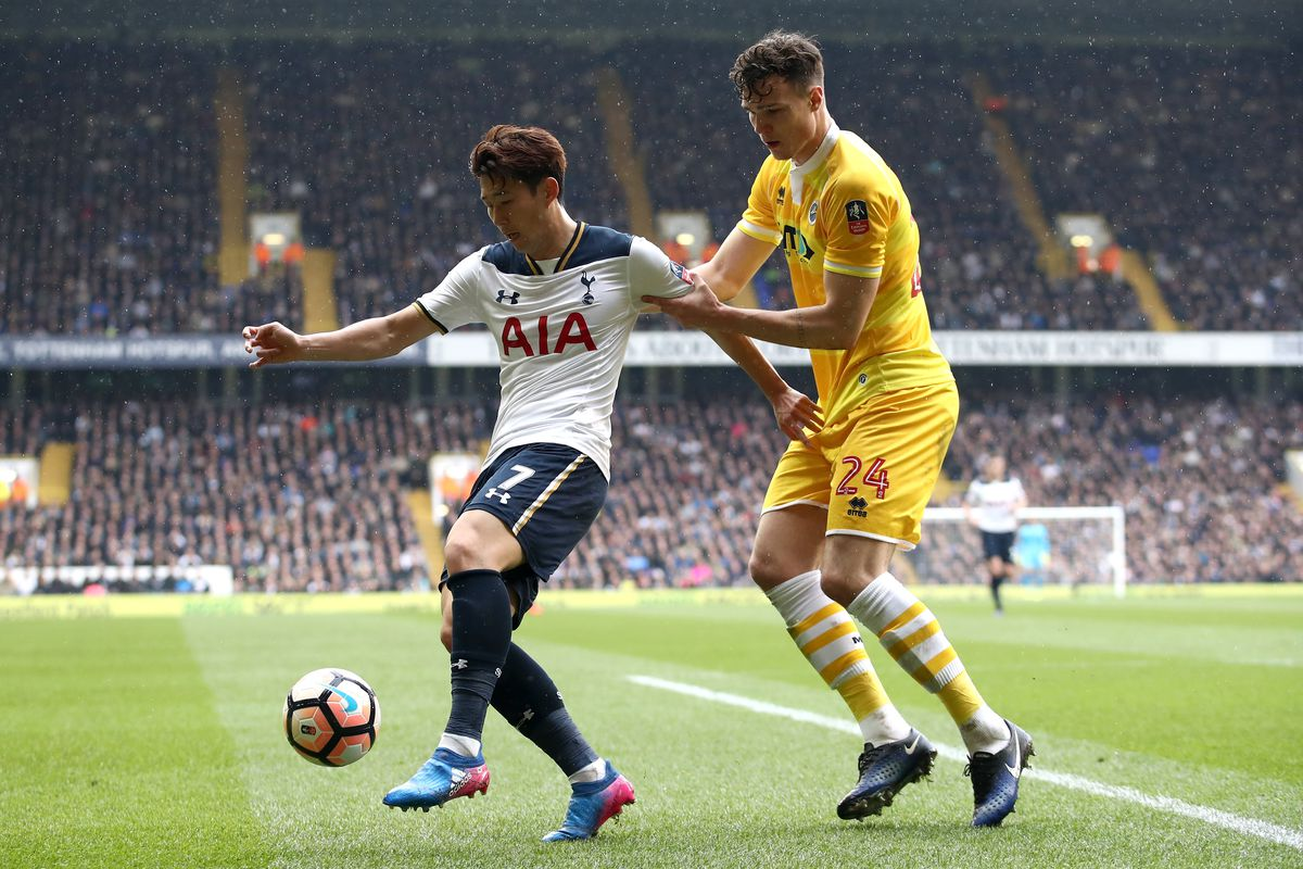 Jake Cooper in FA Cup action against Tottenham