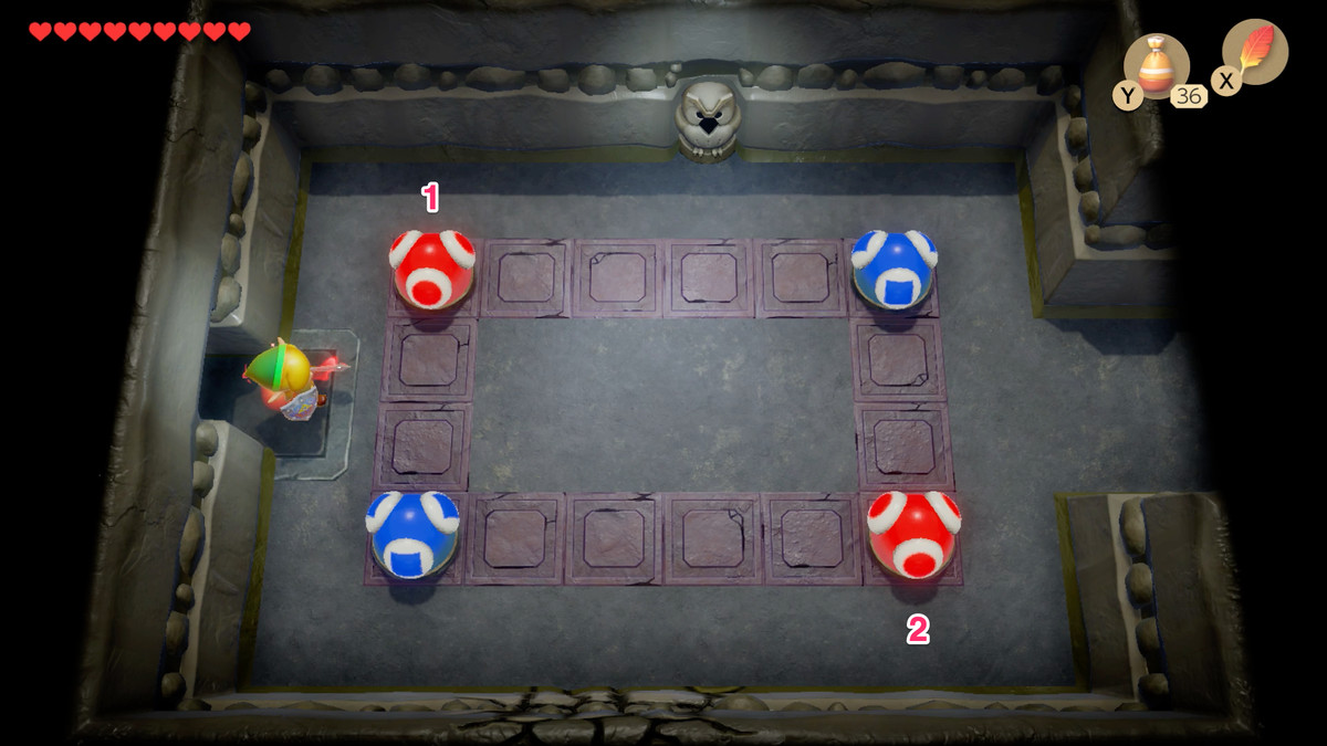 Link's Awakening Color Dungeon red and blue ball puzzle