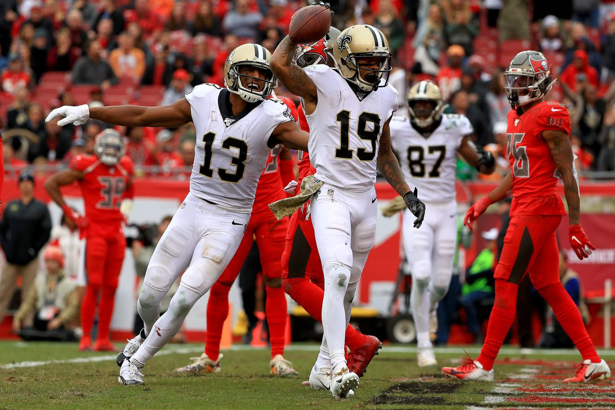 Wide receiver Ted Ginn (19, celebrating a 33-yard touchdown against the Buccaneers last season) caught 30 passes for 421 yards and two touchdowns with the Saints in 2019.