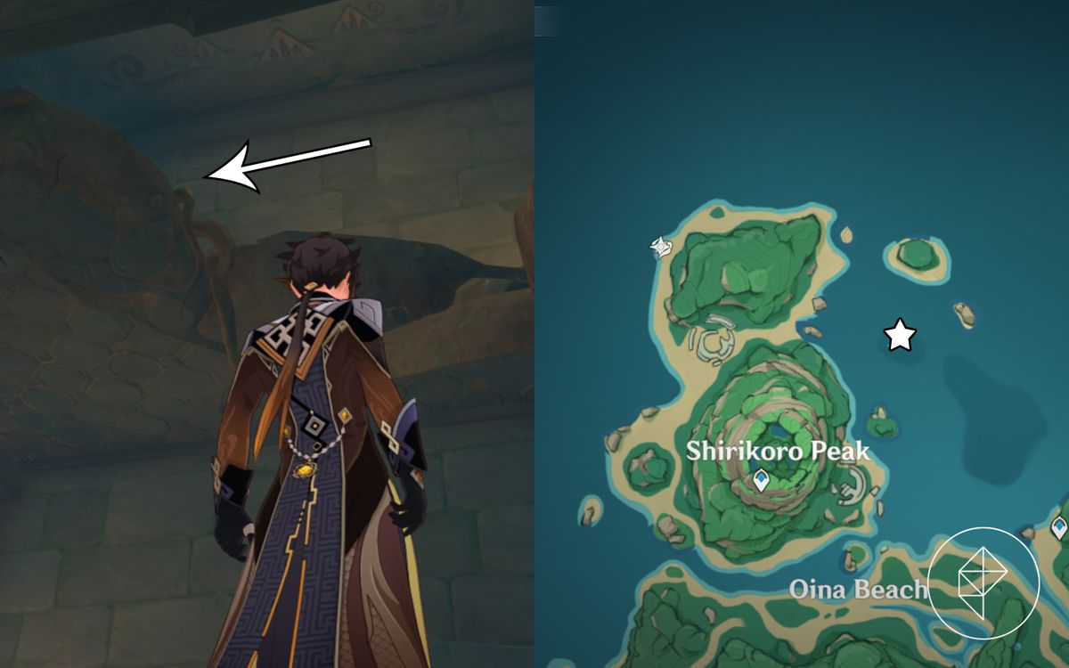 Zhongli stands under a hole in the ceiling with an arrow pointing in the hole towards the left in Shirikoro Peak.