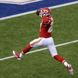 Kansas City Chiefs cornerback Sean Smith (27) returns an interception 100 yards for a touchdown during the third quarter of an NFL football game in Orchard Park, N.Y. Sunday, Nov. 3, 2013.