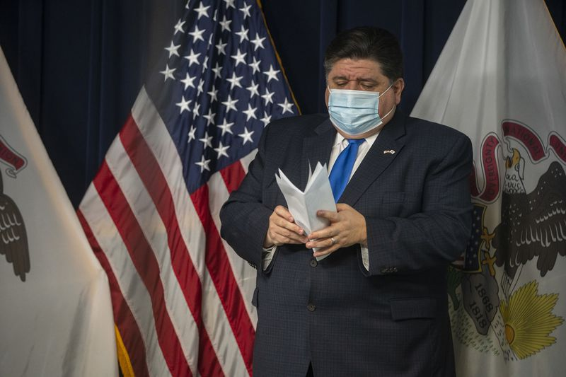 Gov. J.B. Pritzker at a daily COVID-19 briefing at the James R. Thompson Center in November.