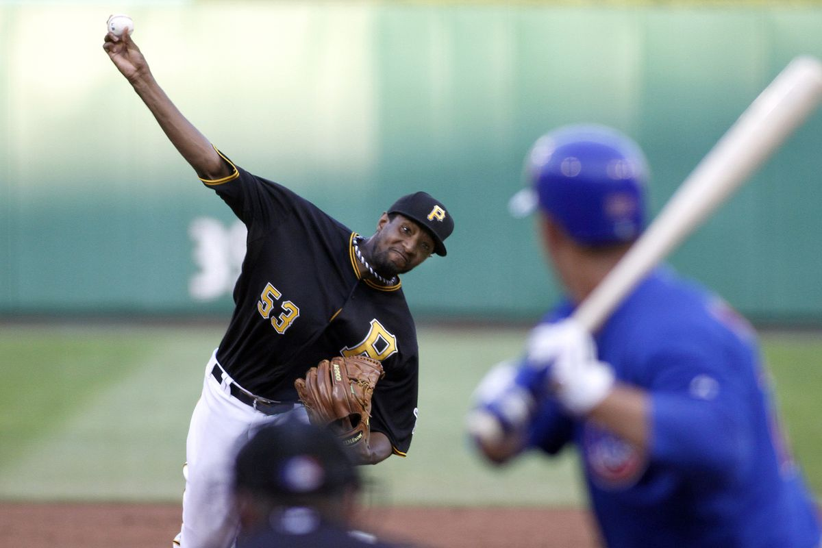 PITTSBURGH, PA - JULY 24:  James McDonald #53 of the Pittsburgh Pirates pitches against the Chicago Cubs during the game on July 24, 2012 at PNC Park in Pittsburgh, Pennsylvania.  (Photo by Justin K. Aller/Getty Images)