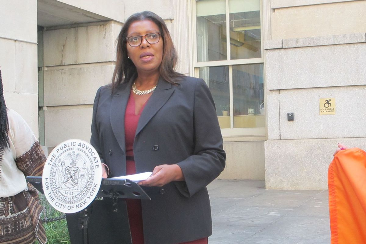 Public Advocate Letitia James announces a campaign to find more information about school bullying and sexual harassment.