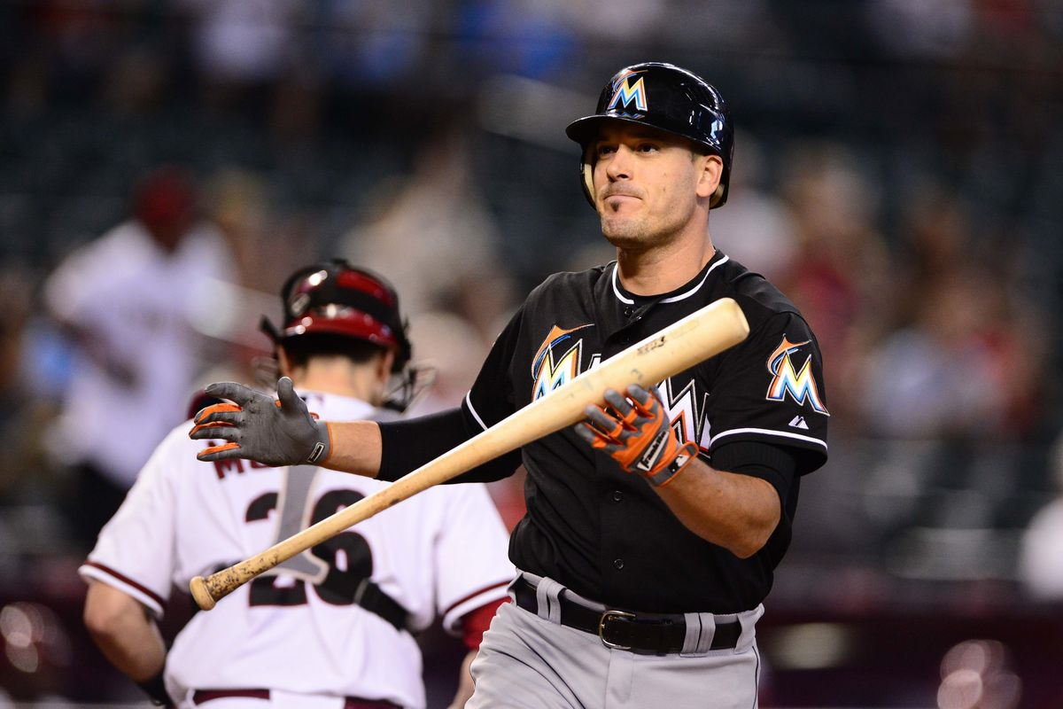 greg dobbs holds a bat like this because marlins