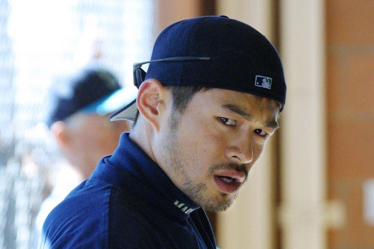 Ichiro Suzuki of Japan prepares for batting practi