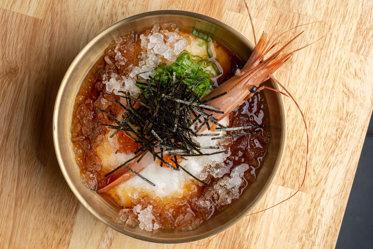 Sudachi udon noodles with ikura and amaebi and grated mountain yam.