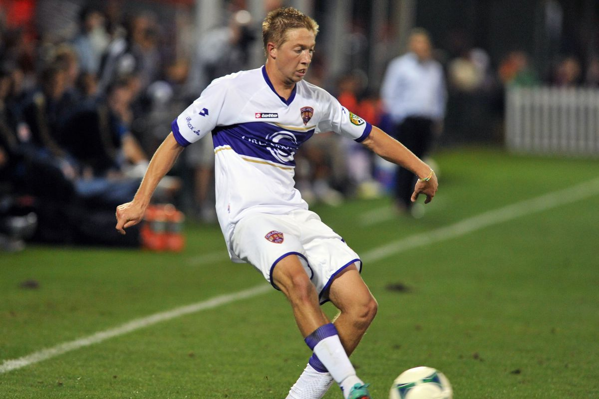 Bryan Burke, seen here with Orlando City SC, becomes the eighth player in Louisville City FC history.