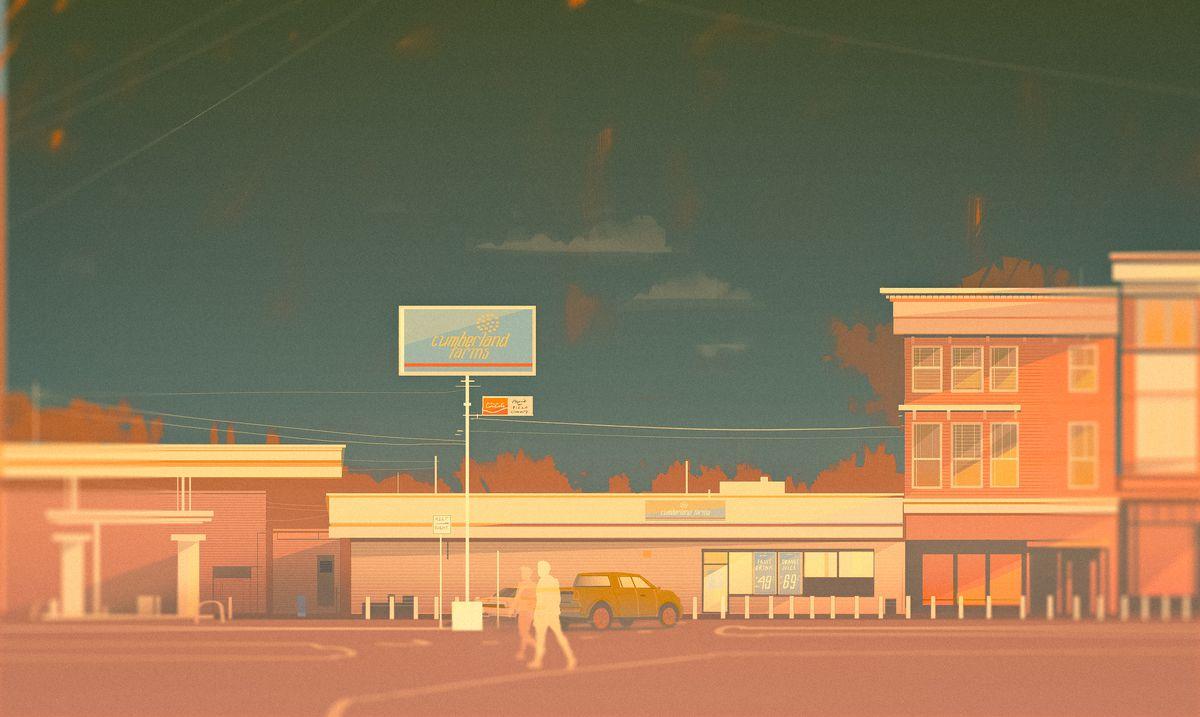 Illustration of gas station nestled among quaint buildings at dusk.