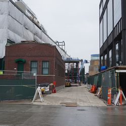 Walkway between the ballpark and the Gallagher Way building