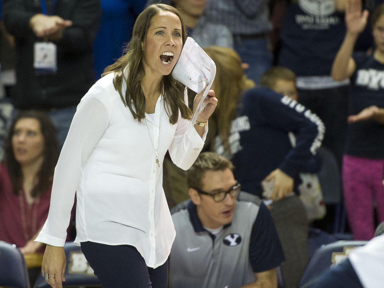 BYU head coach Heather Olmstead cheers on her team during an NCAA volleyball playoff game against UNLV in Provo on Saturday, Dec. 3, 2016. BYU swept UNLV 3-0 to advance to the Sweet 16. BYU earned a No. 16 seed in the 2020 tournament, which will be contested in the spring of 2021 due to the pandemic.