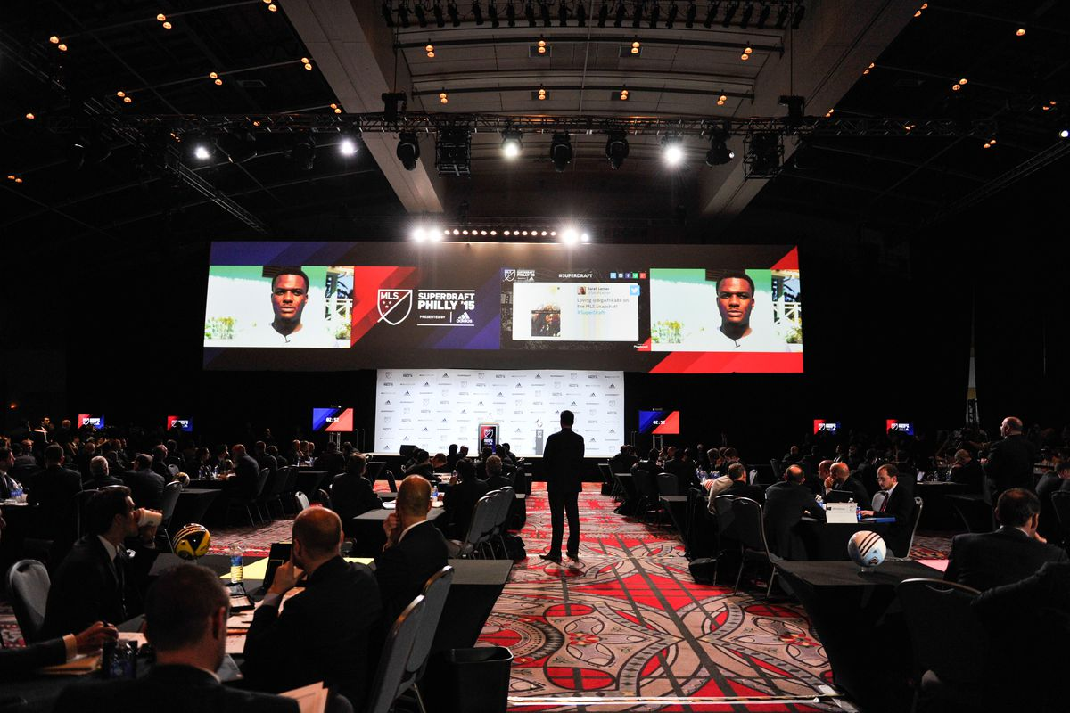 No. 1 overall pick Cyle Larin on the board at 2015 MLS SuperDraft.