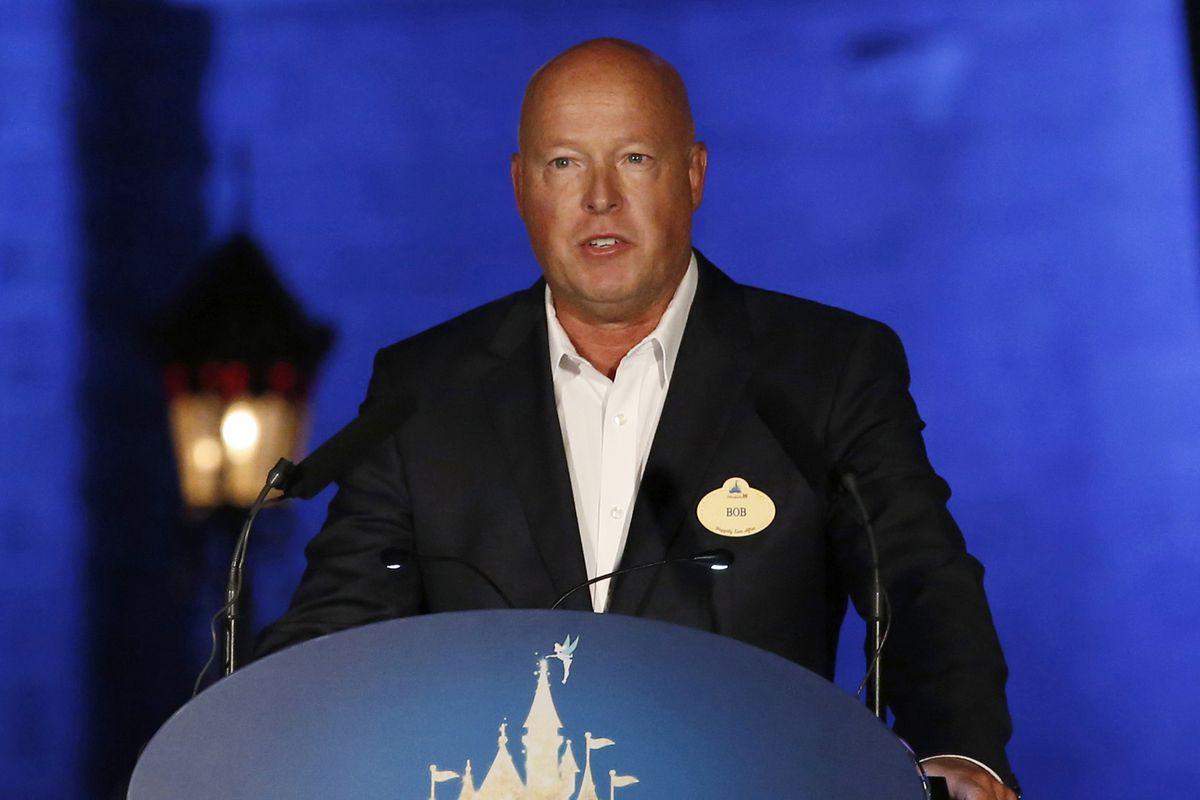 Disney chief executive Bob Chapek speaks during a ceremony at Hong Kong Disneyland on Sept. 11, 2015.