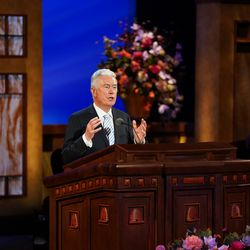 Elder Dieter F. Uchtdorf speaks during the Saturday morning session of the 191st Annual General Conference on April 3, 2021.