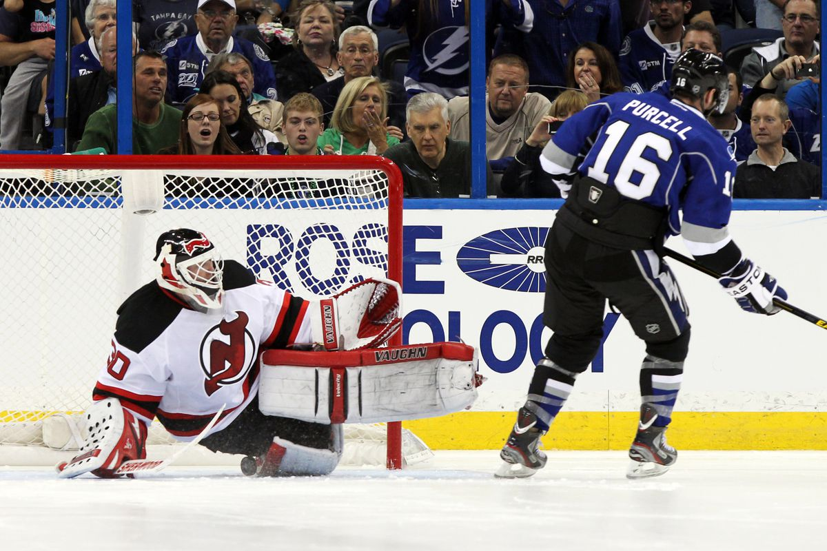 Teddy Purcell scored the shootout goal that eventually held up as the winner for Tampa Bay.