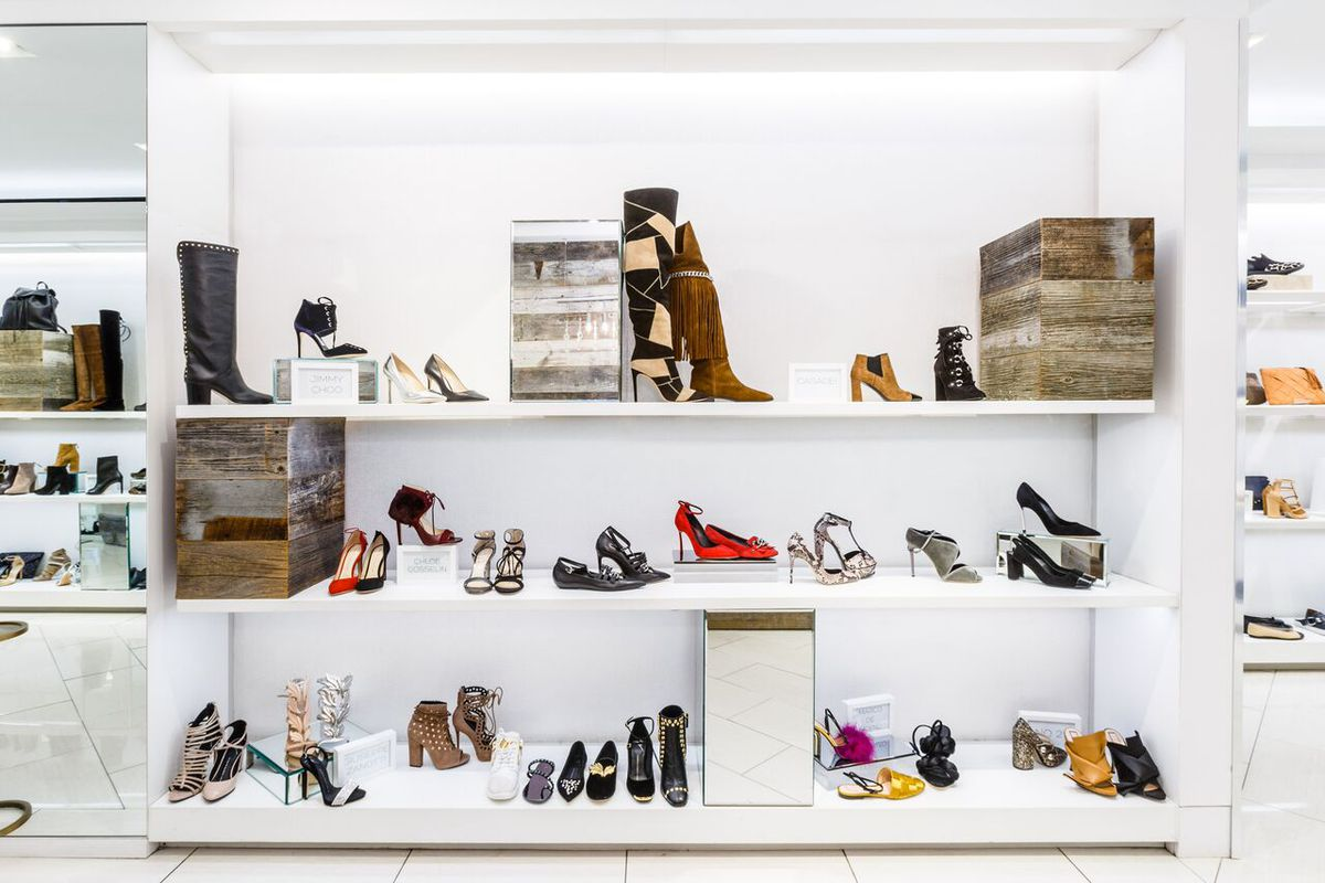 A retail wall in The Shoe Box Fifth Avenue location.