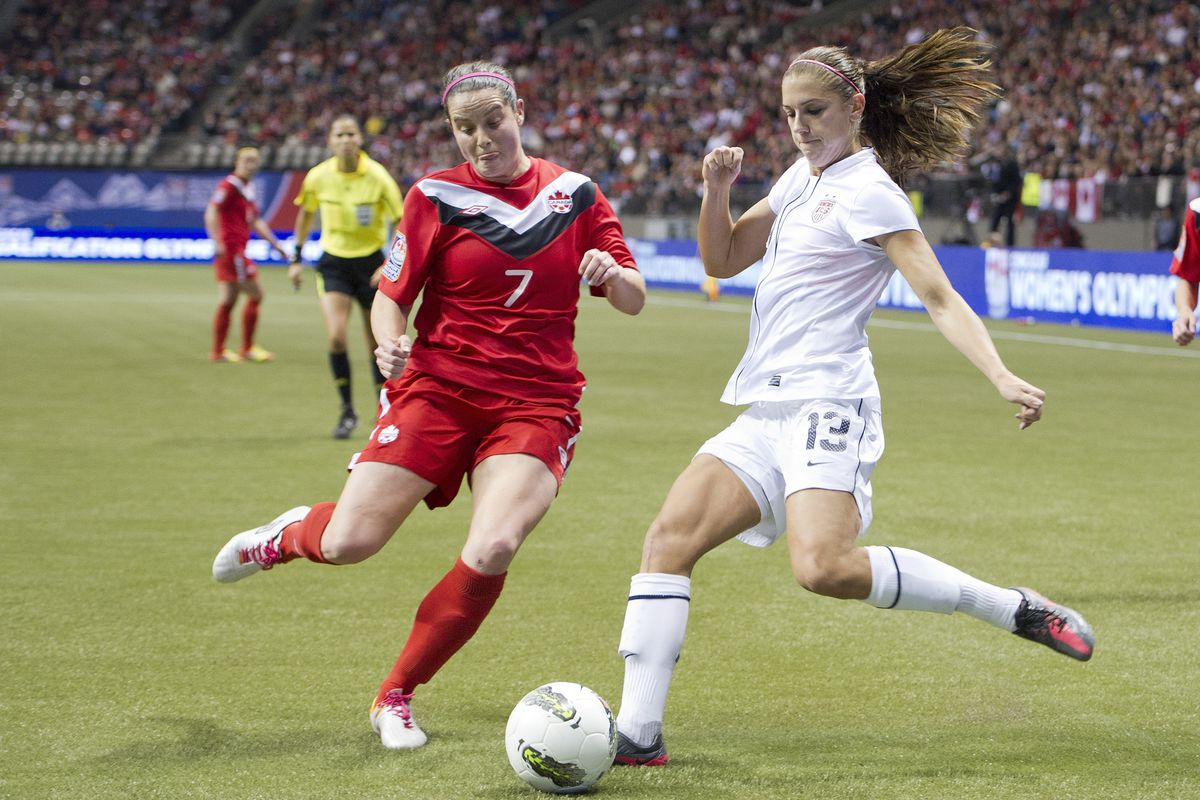 Rhian Wilkinson challenges new Thorns teammate Alex Morgan during the 2012 CONCACAF Olympic Qualifying Final in Vancouver, B.C..
