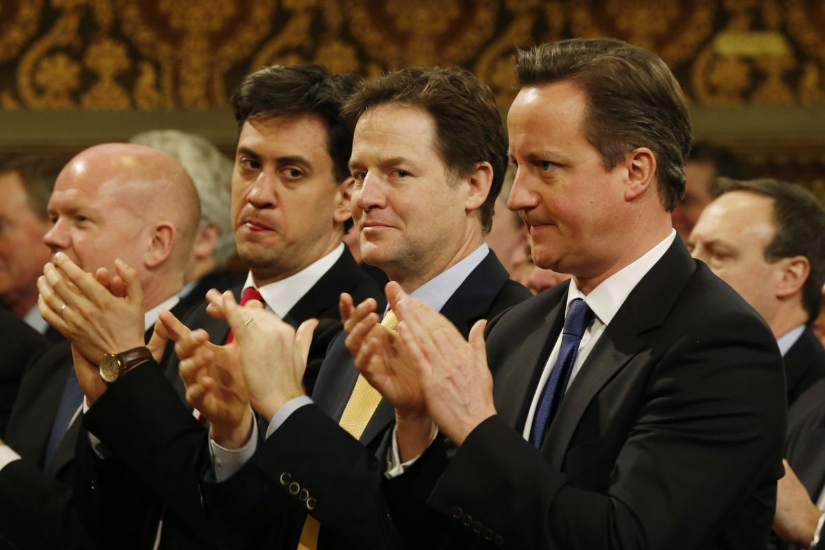 Labour leader Ed Miliband, Liberal Democrats' leader and Deputy Prime Minister Nick Clegg, and Conservative leader and Prime Minister David Cameron.