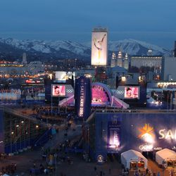 The Salt Lake City skyline is pictured from the Triad Center on Feb. 21, 2002, during the 2002 Winter Games.