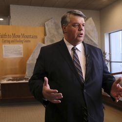Brent Roberts, managing director of The Church of Jesus Christ of Latter-day Saints Special Projects Department, talks about upcoming Salt Lake Temple renovations during a press conference at the Temple Square South Visitors' Center in Salt Lake City, Wednesday, Dec. 4, 2019.