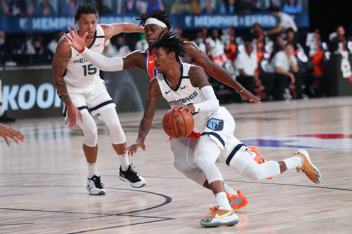 Ja Morant of the Memphis Grizzlies drives to the basket against the Oklahoma City Thunder on August 7, 2020 at Visa Athletic Center at ESPN Wide World of Sports in Orlando, Florida.