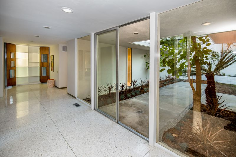 Foyer with glass walls