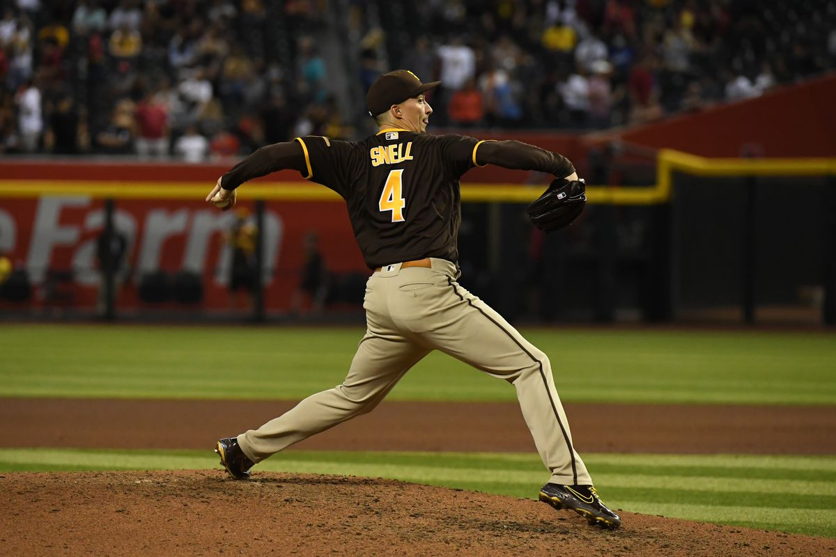 Blake Snell #4 of the San Diego Padres delivers a seventh inning pitch against the Arizona Diamondbacks at Chase Field on August 31, 2021 in Phoenix, Arizona.