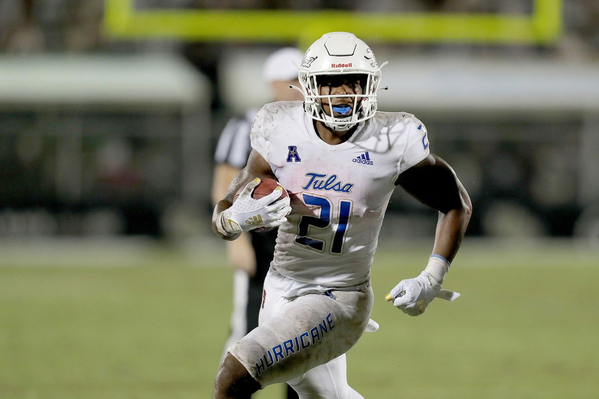 T.K. Wilkerson of the Tulsa Golden Hurricane breaks away against the Central Florida Knights at Bright House Networks Stadium on October 3, 2020 in Orlando, Florida.