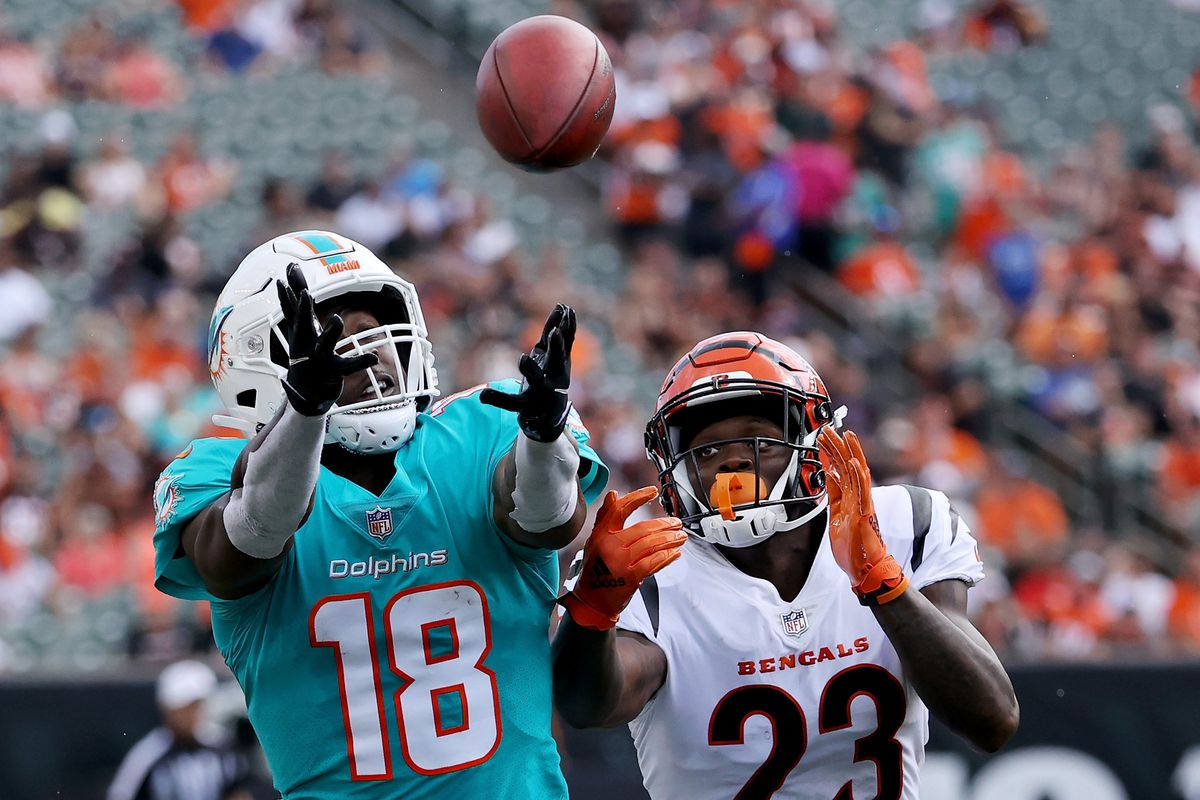 Preston Williams #18 of the Miami Dolphins attempts to catch a pass while being guarded by Darius Phillips #23 of the Cincinnati Bengals in the first quarter during a preseason game at Paul Brown Stadium on August 29, 2021 in Cincinnati, Ohio.