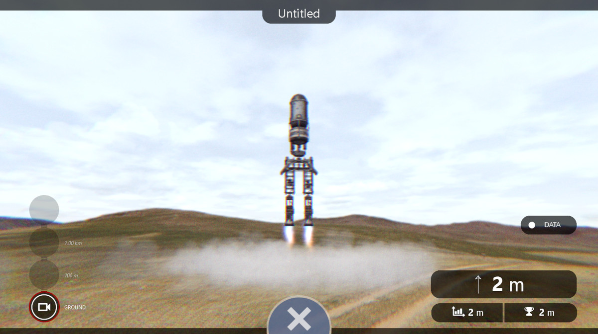 A simulated launch of a two-motor rocket that looks relatively benign. Uncovered vehicles are just off the ground.