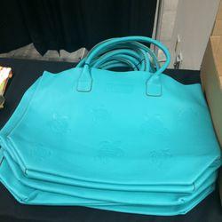 Leather beach bag, $180