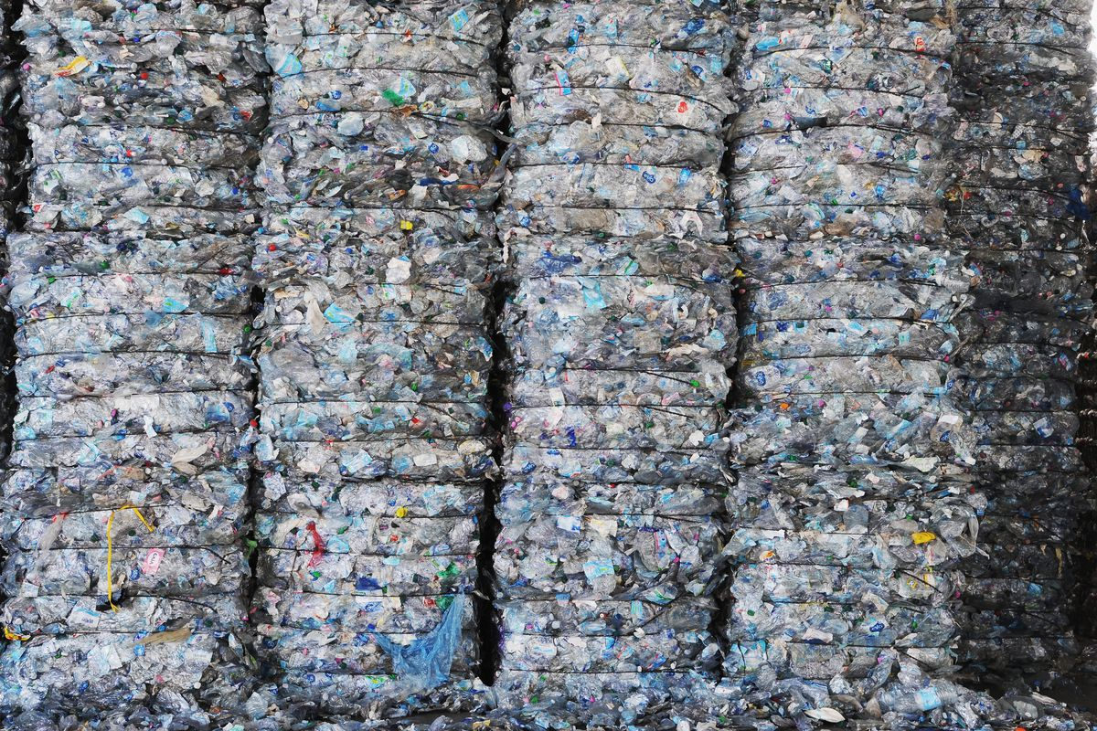 Bales of materials of plastic ready to be recycled in Pontedera near Pisa, Italy, on May 24, 2018.